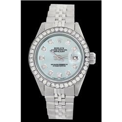Rolex Men's Stainless Steel, QuickSet, Diamond Dial & Diamond Bezel - REF-569H4W