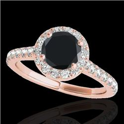 1.40 CTW Certified VS Black Diamond Solitaire Halo Ring 10K Rose Gold - REF-63F8N - 33584