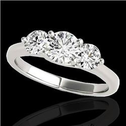 3 CTW H-SI/I Certified Diamond 3 Stone Solitaire Ring 10K White Gold - REF-680A9V - 35394