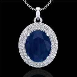 4.50 CTW Sapphire & Micro Pave VS/SI Diamond Certified Necklace 18K White Gold - REF-120R9K - 20573