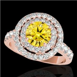 3 CTW Certified SI/I Fancy Intense Yellow Diamond Solitaire Halo Ring 10K Rose Gold - REF-388H2M - 3