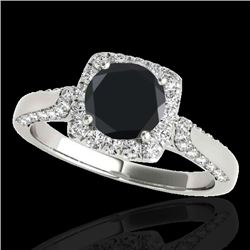 1.50 CTW Certified VS Black Diamond Solitaire Halo Ring 10K White Gold - REF-68Y7X - 33367