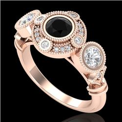 1.51 CTW Fancy Black Diamond Solitaire Art Deco 3 Stone Ring 18K Rose Gold - REF-174A5V - 37710