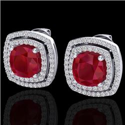 4.95 CTW Ruby & Micro Pave VS/SI Diamond Certified Halo Earrings 18K White Gold - REF-116H4M - 20169