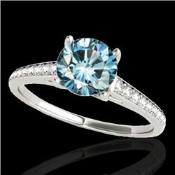 1.50 CTW SI Certified Fancy Blue Diamond Solitaire Ring 10K White Gold - REF-167X8R - 34849