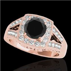 1.65 CTW Certified VS Black Diamond Solitaire Halo Ring 10K Rose Gold - REF-153X8R - 34463