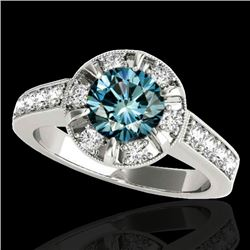 2 CTW SI Certified Fancy Blue Diamond Solitaire Halo Ring 10K White Gold - REF-236H4M - 34491