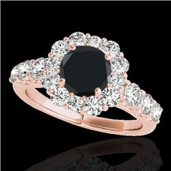 2.9 CTW Certified VS Black Diamond Solitaire Halo Ring 10K Rose Gold - REF-122V5Y - 33395