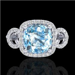 3.75 CTW Topaz & Micro VS/SI Diamond Certified Ring 18K White Gold - REF-65H3M - 23012