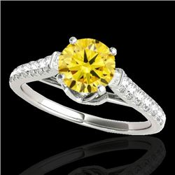 1.46 CTW Certified SI/I Fancy Intense Yellow Diamond Solitaire Ring 10K White Gold - REF-163M6F - 34