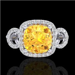 3.75 CTW Citrine & Micro VS/SI Diamond Certified Ring 18K White Gold - REF-65R3K - 22998