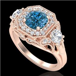 2.11 CTW Intense Blue Diamond Solitaire Art Deco 3 Stone Ring 18K Rose Gold - REF-283W6H - 38301