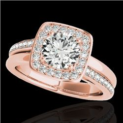 1.33 CTW H-SI/I Certified Diamond Solitaire Halo Ring 10K Rose Gold - REF-176F4N - 34151