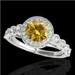 1.50 CTW Certified SI/I Fancy Intense Yellow Diamond Solitaire Halo Ring 10K White Gold - REF-178K2W