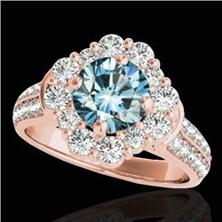 2.16 CTW SI Certified Fancy Blue Diamond Solitaire Halo Ring 10K Rose Gold - REF-221F8N - 33955