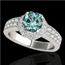1.40 CTW SI Certified Fancy Blue Diamond Solitaire Halo Ring 10K White Gold - REF-172V5Y - 34554