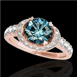 1.75 CTW SI Certified Fancy Blue Diamond Solitaire Halo Ring 10K Rose Gold - REF-180N2A - 34456