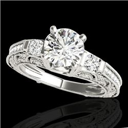 1.38 CTW H-SI/I Certified Diamond Solitaire Antique Ring 10K White Gold - REF-174R5K - 34639