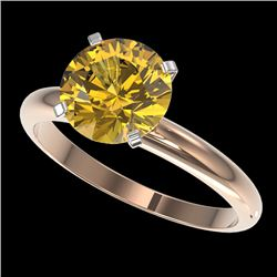 2.50 CTW Certified Intense Yellow SI Diamond Solitaire Ring 10K Rose Gold - REF-836M4F - 32951