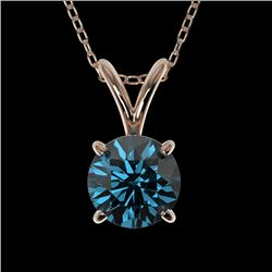 0.75 CTW Certified Intense Blue SI Diamond Solitaire Necklace 10K Rose Gold - REF-82F5N - 33179