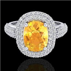 3.50 CTW Citrine & Micro Pave VS/SI Diamond Certified Halo Ring 14K White Gold - REF-98F2N - 20715