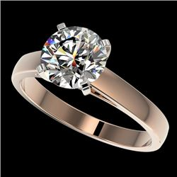 2 CTW Certified H-SI/I Quality Diamond Solitaire Engagement Ring 10K Rose Gold - REF-466K3W - 33030