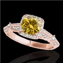 1.36 CTW Certified SI/I Fancy Intense Yellow Diamond Solitaire Halo Ring 10K Rose Gold - REF-218X2R