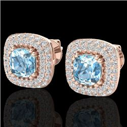 2.16 CTW Sky Blue Topaz & Micro VS/SI Diamond Earrings Halo 14K Rose Gold - REF-86V9Y - 20335