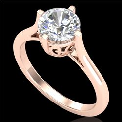 1.25 CTW VS/SI Diamond Solitaire Art Deco Ring 18K Rose Gold - REF-490N9A - 37227