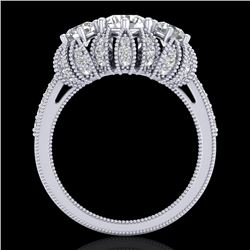 2.26 CTW VS/SI Diamond Art Deco Micro Pave 3 Stone Ring Band 18K White Gold - REF-345H5M - 37001