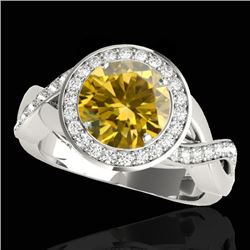 2 CTW Certified SI/I Fancy Intense Yellow Diamond Solitaire Halo Ring 10K White Gold - REF-241H5M -