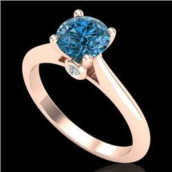 1.08 CTW Fancy Intense Blue Diamond Solitaire Art Deco Ring 18K Rose Gold - REF-161M8F - 38203