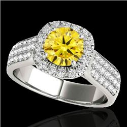 1.80 CTW Certified SI/I Fancy Intense Yellow Diamond Solitaire Halo Ring 10K White Gold - REF-227Y3X