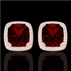 6 CTW Garnet & Micro Pave VS/SI Diamond Halo Solitaire Earrings 14K Rose Gold - REF-65M5F - 22804