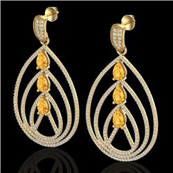 4 CTW Citrine & Micro Pave VS/SI Diamond Certified Earrings 18K Yellow Gold - REF-307X3R - 22454