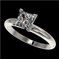 1.25 CTW Certified VS/SI Quality Princess Diamond Solitaire Ring 10K White Gold - REF-372R3K - 32916