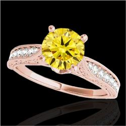 1.50 CTW Certified SI Intense Yellow Diamond Solitaire Antique Ring 10K Rose Gold - REF-221X8R - 347