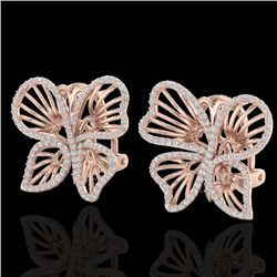 1.25 CTW Designer Micro Butterfly VS/SI Diamond Certified Earrings 14K Rose Gold - REF-106R5K - 2250