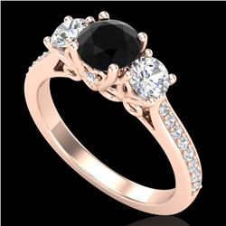 1.67 CTW Fancy Black Diamond Solitaire Art Deco 3 Stone Ring 18K Rose Gold - REF-156M4F - 37808