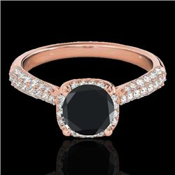 1.50 CTW Certified VS Black Diamond Solitaire Halo Ring 10K Rose Gold - REF-68H2M - 33262