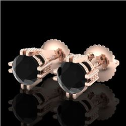 1.07 CTW Fancy Black Diamond Solitaire Art Deco Stud Earrings 18K Rose Gold - REF-85R5K - 37535