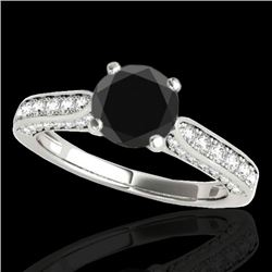 1.60 CTW Certified VS Black Diamond Solitaire Ring 10K White Gold - REF-79N6A - 34919