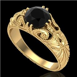 1 CTW Fancy Black Diamond Solitaire Engagement Art Deco Ring 18K Yellow Gold - REF-90F9N - 37529