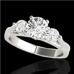 1.50 CTW H-SI/I Certified Diamond 3 Stone Ring 10K White Gold - REF-180H2M - 35367