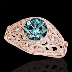 1.36 CTW SI Certified Blue Diamond Solitaire Antique Ring 10K Rose Gold - REF-172M7F - 34717