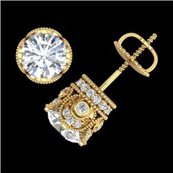 3 CTW VS/SI Diamond Solitaire Art Deco Stud Earrings 18K Yellow Gold - REF-586N6A - 36862