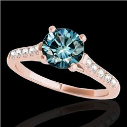 1.20 CTW SI Certified Fancy Blue Diamond Solitaire Ring 10K Rose Gold - REF-145A3V - 34976