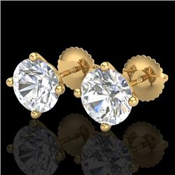 3.01 CTW VS/SI Diamond Solitaire Art Deco Stud Earrings 18K Yellow Gold - REF-927W3H - 37312