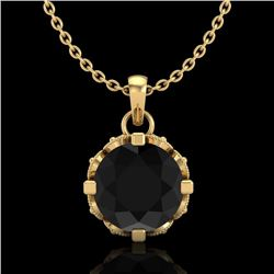1.14 CTW Fancy Black Diamond Solitaire Art Deco Stud Necklace 18K Yellow Gold - REF-81A8V - 37375