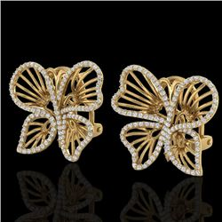 1.25 CTW Designer Micro Butterfly VS/SI Diamond Certified Earrings 14K Yellow Gold - REF-106Y5X - 22